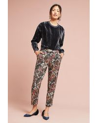 Anthropologie Black Luelle Metallic Jacquard Slim Trousers