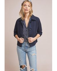 Anthropologie Blue Racquel Cropped Jacket