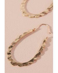 Anthropologie Metallic Celeste Scalloped Hoop Earrings