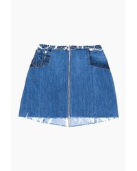Re/done - Blue Zip Mini Skirt - Lyst