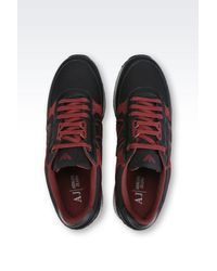 Armani Jeans Black Sneaker In Suede And Technical Fabric for men