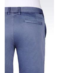 Armani Jeans - Blue Slim Fit Bermuda Shorts In Cotton Satin for Men - Lyst