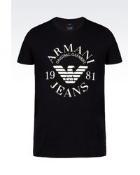 Armani Jeans | Black Eagle Logo Jersey T-shirt for Men | Lyst