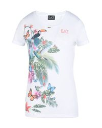 EA7 | White Short Sleeved T-shirt | Lyst