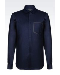 Emporio Armani - Blue Long Sleeve Shirt for Men - Lyst