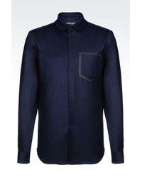 Emporio Armani - Blue Long Sleeve Shirt for Men - Lyst
