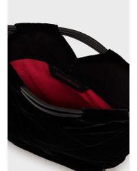 Bolso bandolera de terciopelo acolchado Emporio Armani de color Black