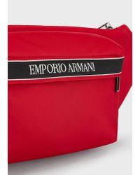 Sac banane en nylon avec bande logo Emporio Armani pour homme en coloris Red
