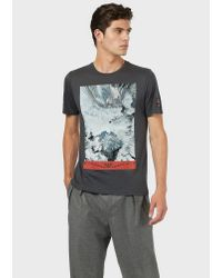 Emporio Armani Gray Contrast Print T-shirt for men