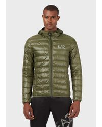 Emporio Armani Green Hooded Puffer Jacket With Full-length Zip for men