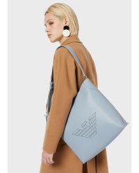 Sac porté épaule en cuir recyclé avec logo perforé Emporio Armani en coloris Blue