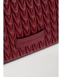 Mini sac en éco-nappa matelassé avec motif goutte Emporio Armani en coloris Red