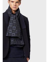 Sciarpa in misto lana vergine con logo a scacchiera di Emporio Armani in Blue da Uomo