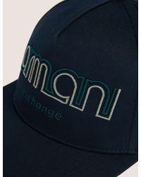 Armani Exchange Blue Dual Line Embroidered Logo Hat for men