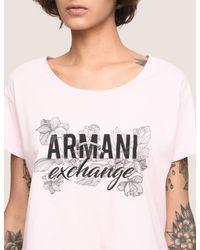 Armani Exchange - Pink Line Art Floral Cropped Tee - Lyst