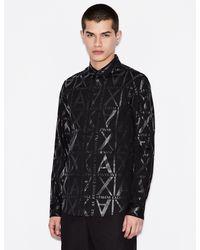 Camicia con Stampa di Armani Exchange in Black da Uomo