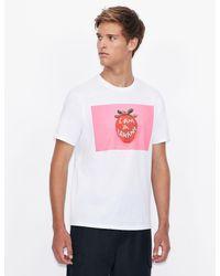 Camiseta regular fit st_ART Hiroshi Armani Exchange de hombre de color White