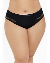 Ashley Stewart Black Plus Size Perforated Brief Panty
