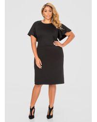 Ashley Stewart - Black Flutter Sleeve Dress - Lyst