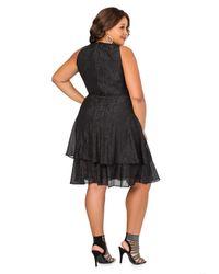 Ashley Stewart Black Tiered Metallic Special Occasion Dress