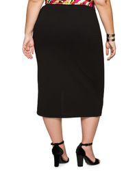 Ashley Stewart - Black Crepe Front Slit Midi Skirt - Lyst
