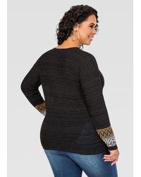 Ashley Stewart - Black Lace-up Neck Sweater - Lyst
