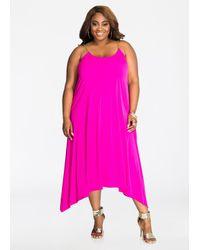 Ashley Stewart | Pink Chain Shoulder Solid Swing Dress | Lyst
