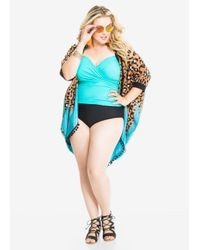 Ashley Stewart | Brown Cheetah Print Dip Dye Cocoon Cover-up | Lyst