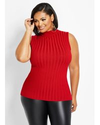 Ashley Stewart Red Plus Size Rib Knit Mock Neck Sweater