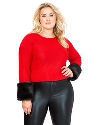 Ashley Stewart - Red Faux Fur Cuff Sweater - Lyst