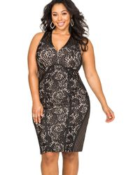 Ashley Stewart Black Shadow Stripe Lace Sheath Dress