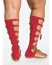 Ashley Stewart Red Islana Lace-up Gladiator Sandals - Wide Width