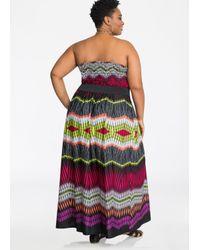 Ashley Stewart - Red Strapless Belted Print Maxi Dress - Lyst