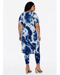 Ashley Stewart - Blue Tie Dye Duster Top With Slit - Lyst