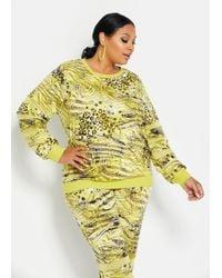 Ashley Stewart Yellow Plus Size Mesh Sleeve Insert Pullover