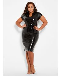 Ashley Stewart Black Plus Size Patent Faux Leather Dress