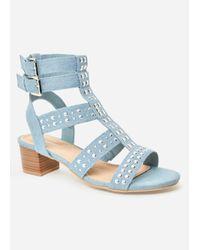 Ashley Stewart Blue Plus Size Studded Chunky Heel Sandal