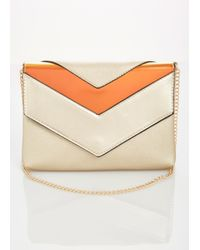 Ashley Stewart Metallic Hologram Chevron Crossbody Clutch