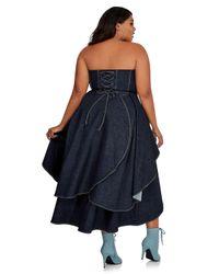 Ashley Stewart Blue Strapless Sweetheart Denim Dress