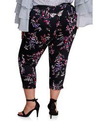 Ashley Stewart Black Belted Floral Capri Trouser