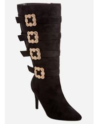 Ashley Stewart Black Gold Square Buckle Tall Boot