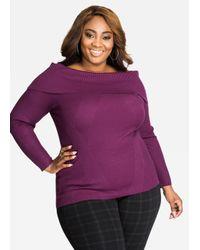 Ashley Stewart - Purple Solid Mixed Media Rib Knit Cowl Neck Sweater - Lyst