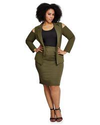 Ashley Stewart Green Banded Stripe Bodycon Skirt