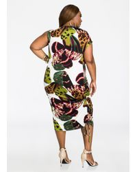Ashley Stewart - Green Abstract Print Asymmetrical Ruched Side Dress - Lyst