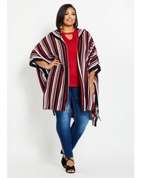 Ashley Stewart Red Plus Size Striped Hooded Cardigan