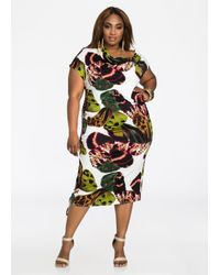 Ashley Stewart | Green Abstract Print Asymmetrical Ruched Side Dress | Lyst