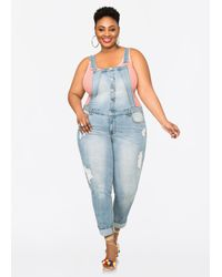 Ashley Stewart - Blue Distressed Button-front Overalls - Lyst