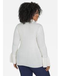 Ashley Stewart - Gray Bell Sleeve Ribbed Turtleneck Sweater - Lyst