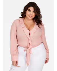 3cf5c9ce09e Lyst - Ashley Stewart Ruffle Neck Button Front Top in Pink
