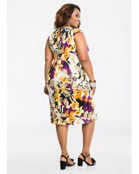 Ashley Stewart Multicolor Cap Sleeve Sarong Style Dress